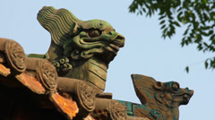 Traditional roof eave of a Chinese buddhist temple Stock Footage