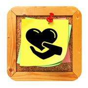 Charity Concept - Yellow Sticker on Message Board. Stock Illustration