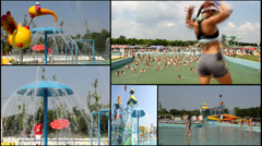 girl aqua amusement park  multi screen lot of a fun and summer happines - stock footage