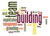 Stock Illustration of team building word cloud
