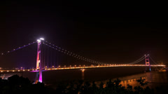 4K UHD Tsing Ma Bridge in Hong Kong at night Stock Footage