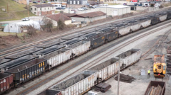 Empty Coal Railcars in a WV Rail Yard - stock footage