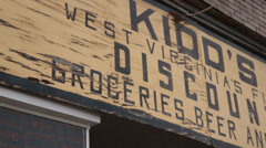 Sign of Abandoned Store in West Virginia Stock Footage