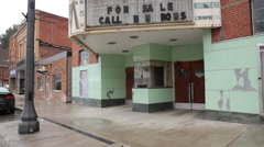 Economic Depression: Closed Movie Theatre in Mt. Hope, West Virginia Stock Footage