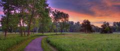 Beautiful sunrise in the park Stock Photos