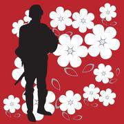 Soldier siluetti kirkkaan punainen ja vahva tausta Piirros