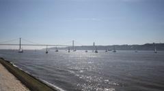 Europe Portugal Lisbon Riverside Great Bridge Stock Footage