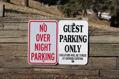 Guest parking only and no overnight parking Stock Photos
