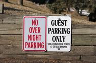 Stock Photo of guest parking only and no overnight parking
