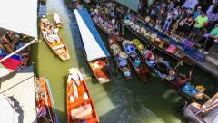 Floating Boat Market Time Lapse Thailand Stock Footage