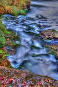 set of rapids on a river in high dynamic range - stock photo