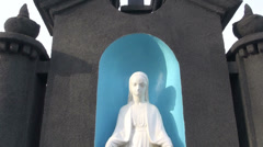 Virgin Mary Statue in old cemetery Stock Footage