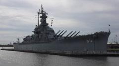 Close up of USS Alabama Battleship - stock footage