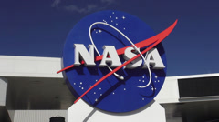 NASA Logo at Kennedy Space Center Cape Canaveral Stock Footage