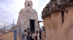 Japanese tourists at casa mila Stock Footage