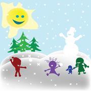 Snowfight - stock illustration