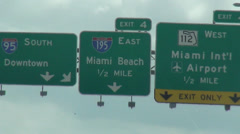 Traffic signs Miami Beach  I195 and I95 - stock footage