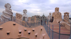 Casa mila roof Stock Footage