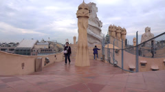 The roof casa mila Stock Footage