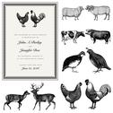 Stock Illustration of vector male and female animal vintage wedding invite set