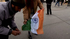 Jamaat Ud Dawa Supporters Burn Indian Flag Stock Footage