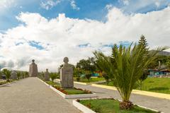 Mitad Del Mundo Middle Of The World Statues Alley Commemorating French Mission - stock photo