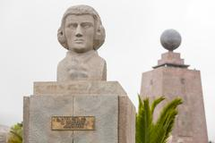 Statue Of French Astronomer Hugot Equator Monument In The Background Quito - stock photo