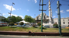 View from tram window to mosque  in Istanbul, Turkey Stock Footage