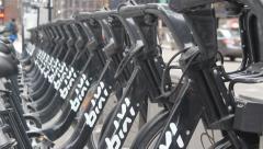 Bicycle Rack Focus Stock Footage