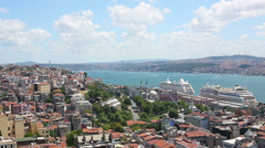 Cityscape with Bosphorus Strait with many bid and small ships Stock Footage