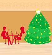 christmas dinner. - stock illustration