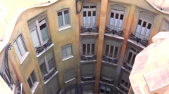 Casa mila patio - view from the roof Stock Footage