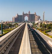 Atlantis hotel and monorail train in dubai Stock Photos