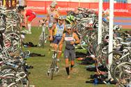 Stock Photo of Triathletes on transition zone