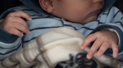 Tiny hands of three months baby Stock Footage