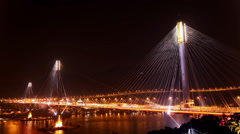 Ting Kau Bridge in Hong Kong at night Stock Footage
