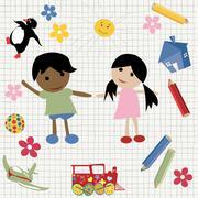 Childlike design - stock illustration