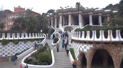 Park guell entrance Stock Footage