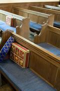 Church pews Stock Photos