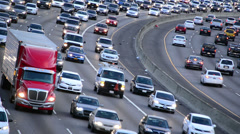 Daytime Rush Hour Traffic on Busy Freeway in Los Angeles Stock Footage