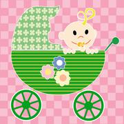 Baby in stroller - stock illustration