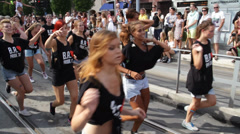 Female Dancers at Gay Pride Parade. Stock Footage