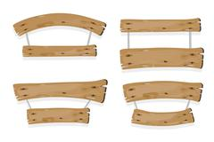 brown wooden planks hanging on ropes - stock illustration