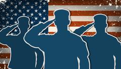three us army soldiers saluting on grunge american flag background - stock illustration