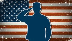 us army soldier on grunge american flag background  - stock illustration