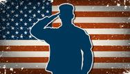 Stock Illustration of us army soldier on grunge american flag background