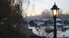 Lamppost and Windy tree branches. Blurry background. Stock Footage