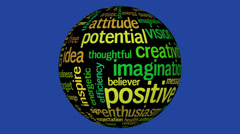 Animation of tag cloud containing words related to positive thinking, Stock Footage