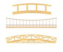 Wooden and hanging bridge vector illustrations Stock Illustration