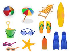 Summer and beach icons Stock Illustration